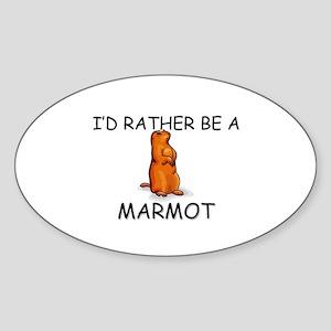 I'd Rather Be A Marmot Oval Sticker