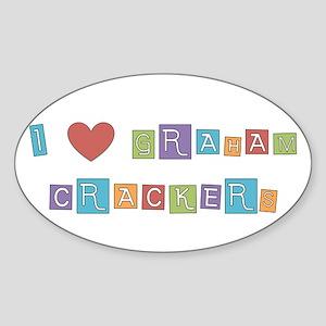 graham cracker Oval Sticker