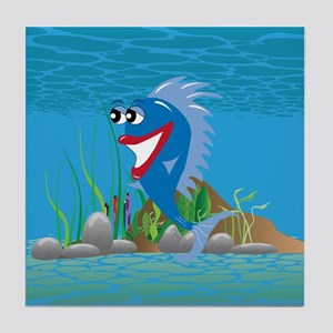 Blue Happy Fish Tile Coaster