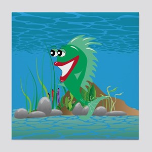 Green Happy Fish Tile Coaster