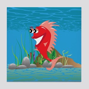 Red Happy Fish Tile Coaster