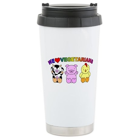 We Love Vegetarians Stainless Steel Travel Mug
