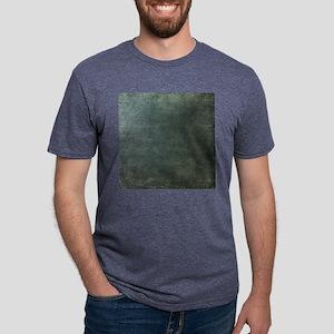 Green script linen texture Mens Tri-blend T-Shirt