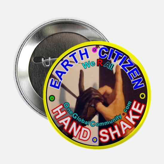"Earth Citizen,Hand Shake, 2.25"" Button (100 pack)"