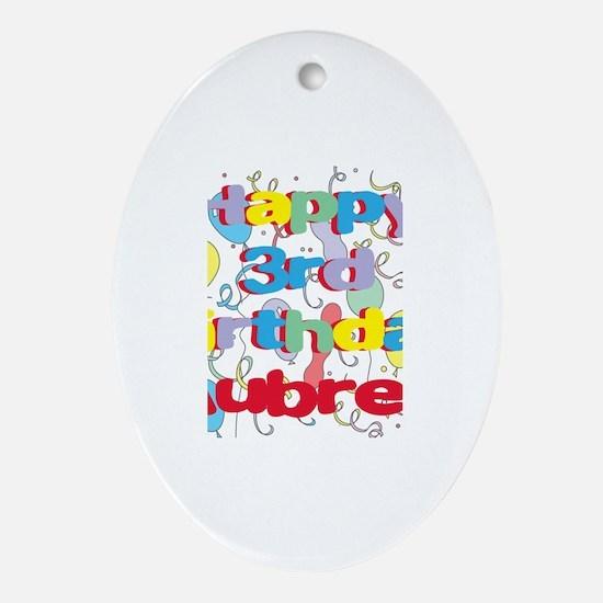 Aubrey's 3rd Birthday Oval Ornament