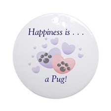 Happiness is...a Pug Keepsake (Round)
