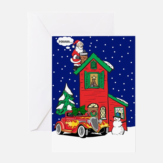 A Hot Rod For Christmas Greeting Card