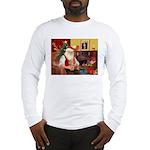 Santa's Dachshund (wire) Long Sleeve T-Shirt