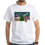 Xmas Magic & Yorkie White T-Shirt