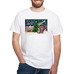 XmasMagic/2 Yorkies White T-Shirt