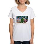 XmasMagic/2 Yorkies Women's V-Neck T-Shirt