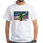 XmasMagic/3 Yorkies White T-Shirt
