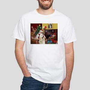 Santa's Great Pyrenees White T-Shirt
