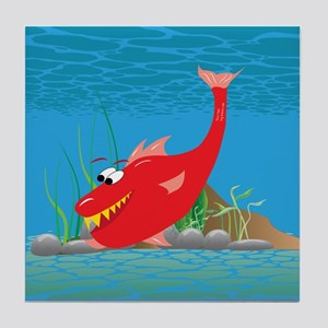 Red Razor Fish Tile Coaster
