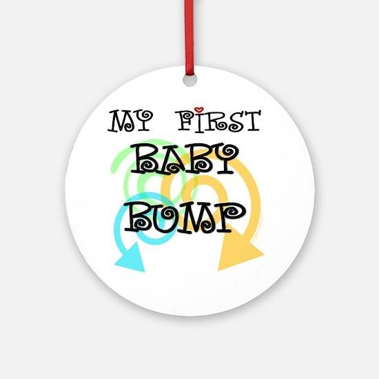 Cute first baby bump pregnancy Ornament (Round)