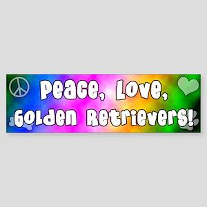 Hippie Golden Retriever Bumper Sticker