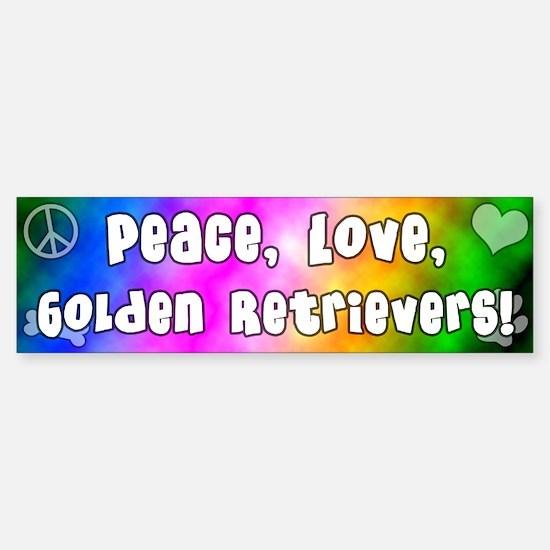Hippie Golden Retriever Bumper Bumper Bumper Sticker