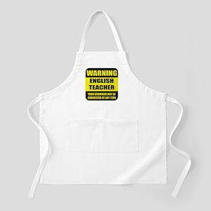 Warning english teacher sign BBQ Apron