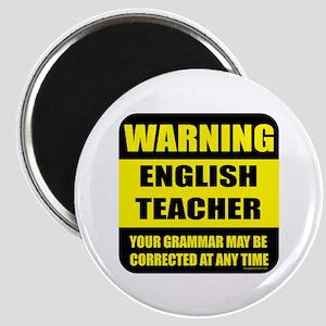 Warning english teacher sign Magnet