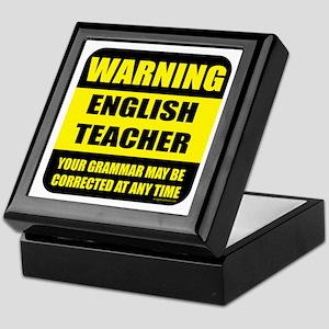 Warning english teacher sign Keepsake Box
