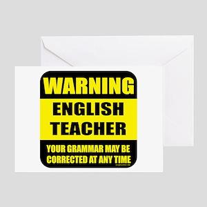 Warning english teacher sign Greeting Card
