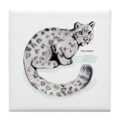 Snow Leopard Wild Cat Tile Coaster