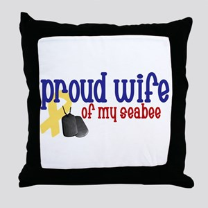 Proud Wife of my Seabee Throw Pillow