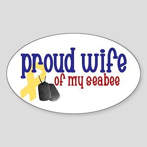 Proud Wife of my Seabee Oval Sticker