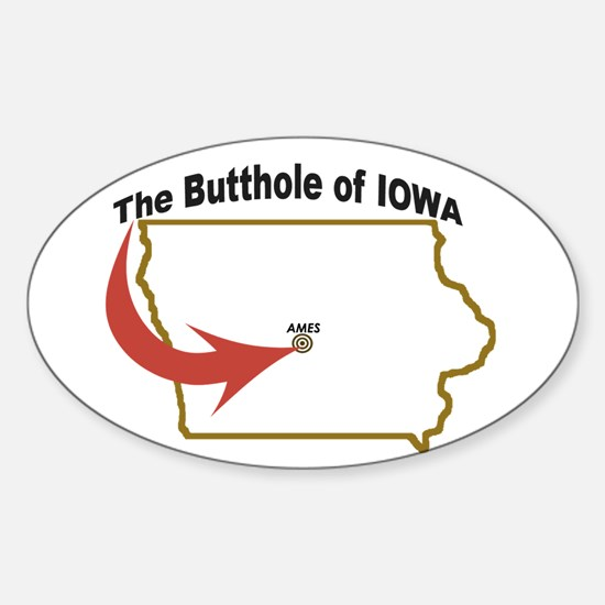 Butthole of Iowa Oval Decal