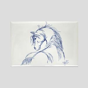 Horse Head Sketch Rectangle Magnet