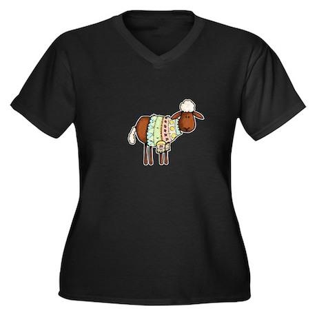 woolly sweater Women's Plus Size V-Neck Dark T-Shi