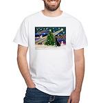 Xmas Magic & Black Lab White T-Shirt