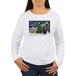 Xmas Magic & Black Lab Women's Long Sleeve T-Shir
