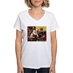 Santa's Chocolate Lab Women's V-Neck T-Shirt