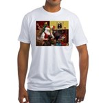 Santa's Chocolate Lab Fitted T-Shirt