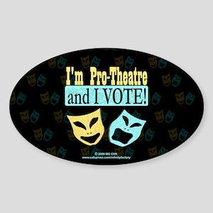 Pro Theatre Vote Dark Oval Sticker