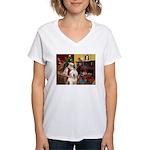 Santa's Old English #6 Women's V-Neck T-Shirt