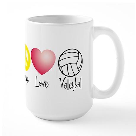 Peace, Love, Volleyball Large Mug