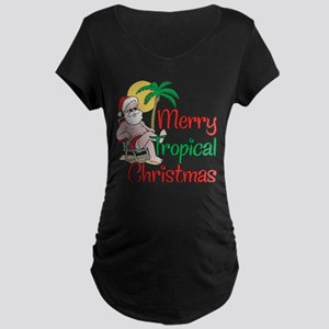 MERRY TROPICAL CHRISTMAS! Maternity Dark T-Shirt