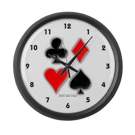 Playing Card Suits Large Wall Clock