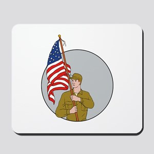 American Soldier Holding USA Flag Circle Drawing M