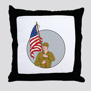 American Soldier Holding USA Flag Circle Drawing T