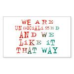 Unsocialized Rectangle Sticker 50 pk)