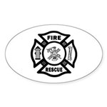 Fire Rescue Sticker (Oval)