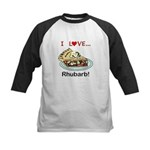 I Love Rhubarb Kids Baseball Tee