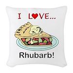I Love Rhubarb Woven Throw Pillow