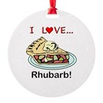 I Love Rhubarb Round Ornament