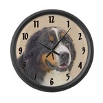Bernese Mountain Dog Painting - O Large Wall Clock