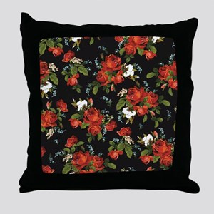 Red Roses Vintage Floral Throw Pillow