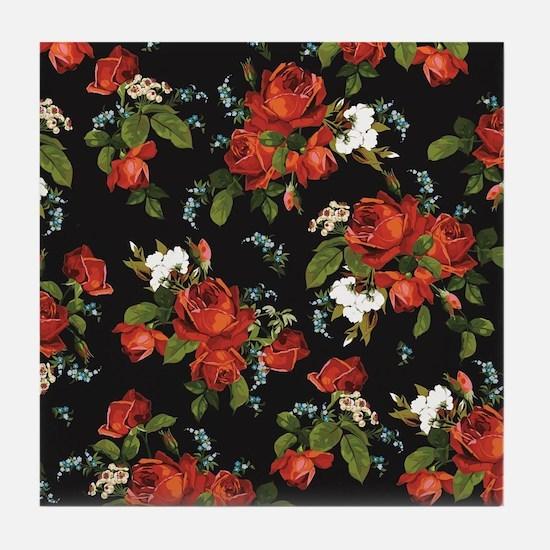 Red Roses Vintage Floral Tile Coaster